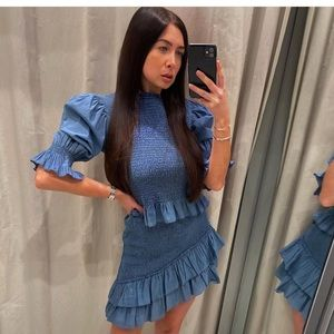 Zara two peice blue stretch top and mini skirt set